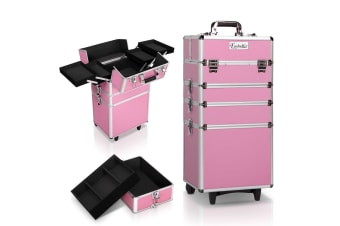 7 in 1 Portable Beauty Make up Cosmetic Trolley Case (Pink)