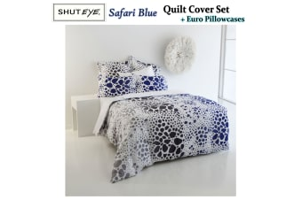 Safari Blue Quilt Cover Set + Euro Pillowcases by Shuteye