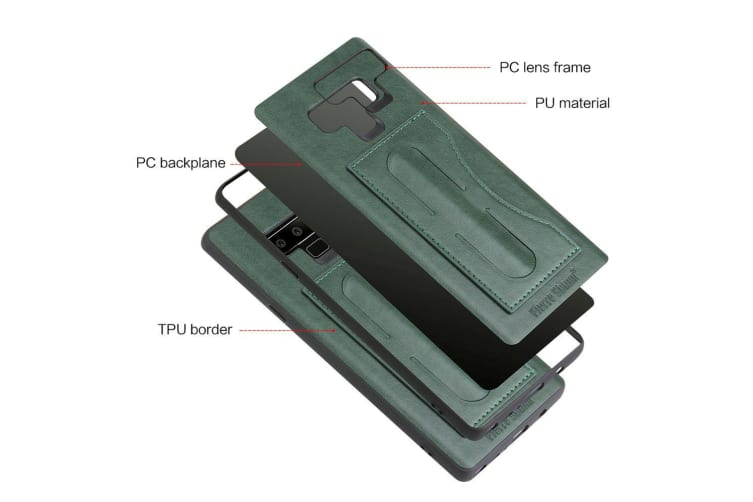 For Samsung Galaxy Note 9 Case Luxury Leather Phone Cover Kickstand Green
