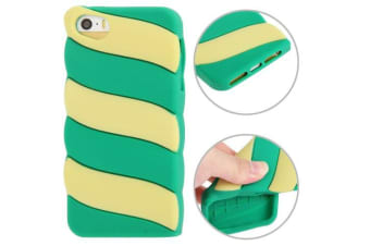 For iPhone SE 5S 5 Case Green Yellow Stripes Grippy Durable Shielding Cover
