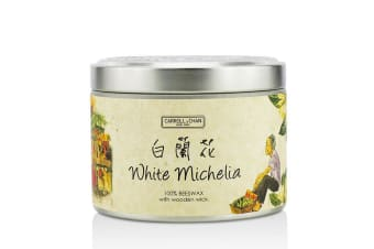 The Candle Company Tin Can 100% Beeswax Candle with Wooden Wick - White Michelia (8x5) cm