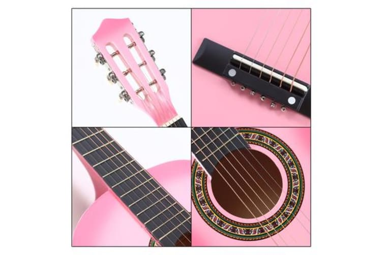 "34""Acoustic Guitar for Children Wooden Pink"