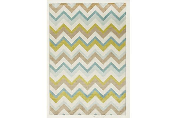 Stunning Chevron Design Rug Green Brown Cream 220x150cm