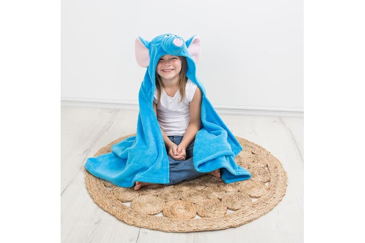 Bambury iSpy Hooded Kids Throw - 127 x 96cm - Elephant