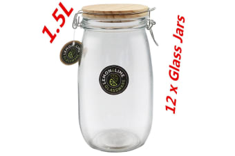 12 x 1500ml Round Food Storage Jar 1.5L Glass Jars Canister Container Wooden Lid