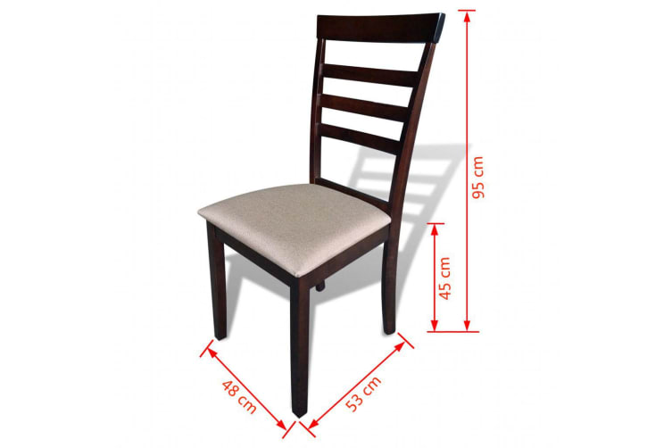 vidaXL Dining Chairs 6 pcs Brown and Cream Solid Wood and Fabric