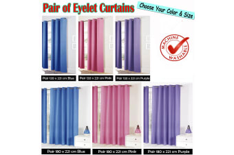 Pair of Easy Care Eyelet Curtains Pink 180 x 221 cm