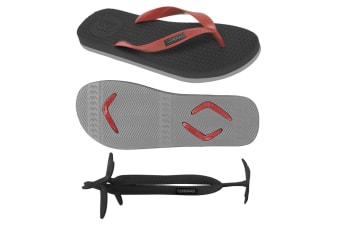 Men's Black/Grey Thongs with 1x Pair of Interchangeable Red Straps