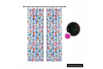 Pair of Glow in the Dark O'Clock Tab Top Curtains by Happy Kids