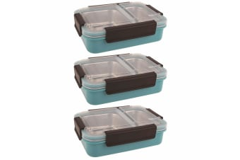 3PK Oasis 23cm Stainless Steel 2 Compartments Food Lunch Box Storage Turquoise