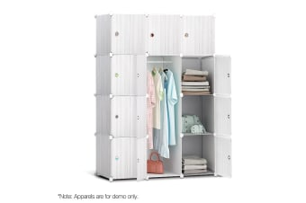 12 Stackable Cube Storage Cabinet (White Stripe)