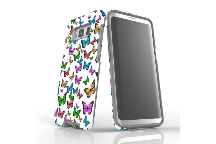For Samsung Galaxy S8 Case  Armour Tough Cover  Colourful Butterflies