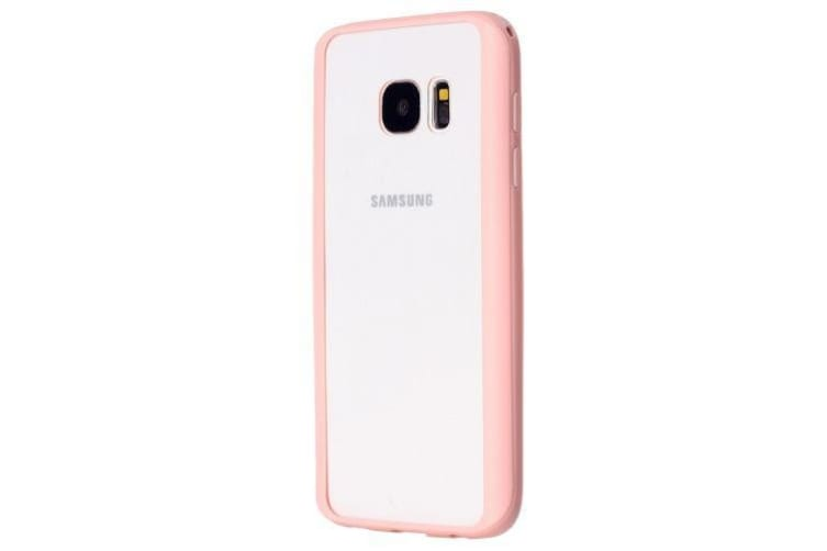 For Samsung Galaxy S7 EDGE Case Fashionable Acrylic Tough Transparent Cover Pink