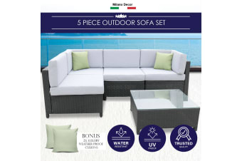 Milano 5 Piece Wicker Rattan Sofa Set Black Grey Outdoor Lounge Patio Furniture