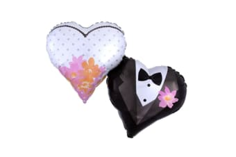 Anagram Wedding Couple Hearts Supershape Foil Balloon (Black/White/Pink) (One Size)