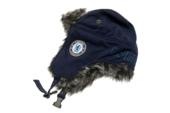 Chelsea FC Official Adults Unisex Jersey Trapper Hat (Blue/Grey)