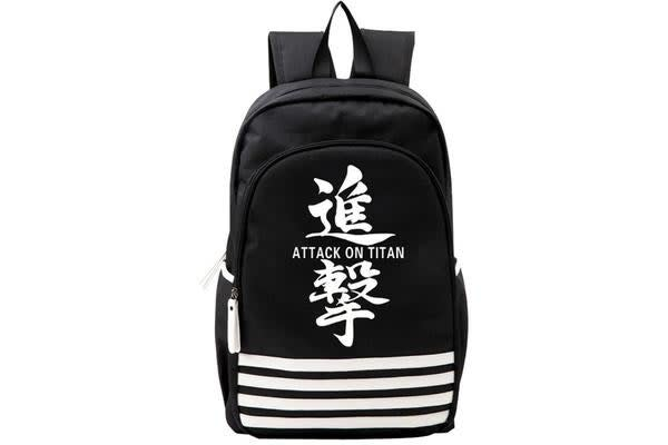 Generic Attack On Titan Logo Back Pack Words Logo - Black