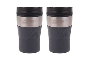 2PK Oasis 280ml Cafe Stainless Steel Insulated Travel Drinkware Cup Charcoal GRY