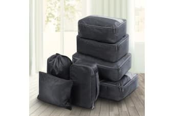 7PCS Packing Cubes Travel Luggage Organiser Suitcase Storage Bag