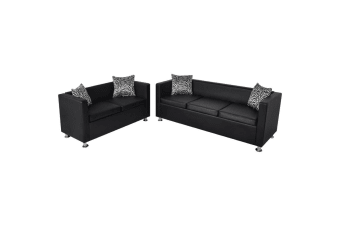 vidaXL Sofa Set Artificial Leather 3-Seater and 2-Seater Black