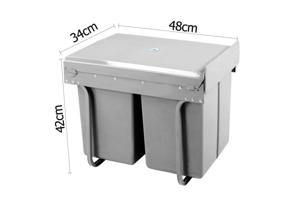 Dual Side Pull Out Rubbish Waste Basket 2 x 20L