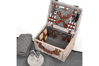 Deluxe 2/4 Person Picnic Basket Baskets Set Outdoor Corporate Blanket Park Trip  -  B