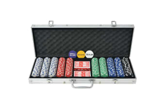 vidaXL Poker Set with 500 Chips Aluminium