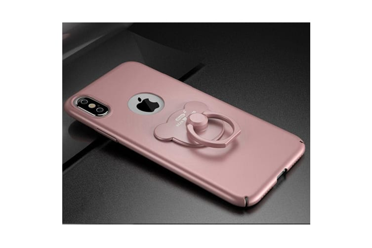 For iPhone XS X Case Modern Solid Metal Paint Durable Protective Cover Rose Gold