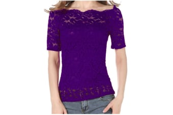 Women'S Off Shoulder Floral Lace Top Crochet T-Shirt Purple L Short Sleeve