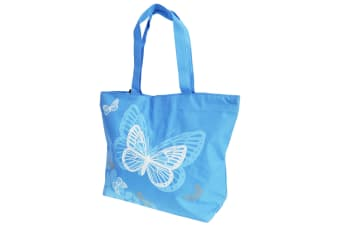 FLOSO Womens/Ladies Floral Butterfly Design Handbag (Blue)