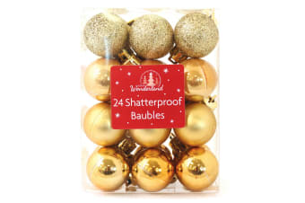 Christmas Shop 24 Shatterproof Classic Baubles (Gold)