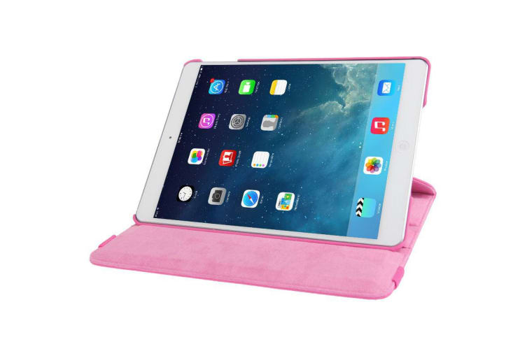 For iPad 2018 2017 9.7in Case Rotatable Lychee Leather Shielding Cover Magenta