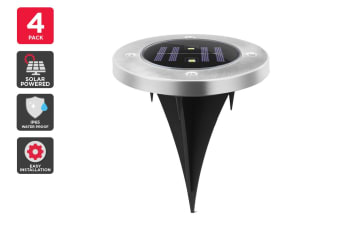 Solar Powered Recessed LED Light - 4 Pack