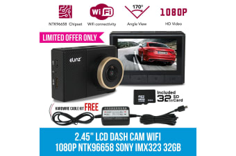 "Elinz 2.45"" Car Dash Camera Cam Wifi Video Recorder 1080P NTK96658 SONY IMX323 32GB 2"" FREE Hardwire Cable"