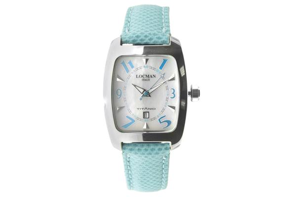 Women's Locman Titanium Case Light Blue Leather Silver Tone Date Watch (483MOPSK-SKKS)