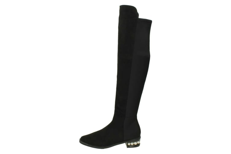 Spot On Womens/Ladies Over The Knee High Leg Boots (Black Microfibre) (UK 6)