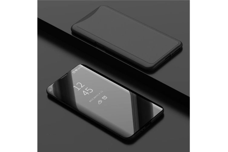 Mirror Cover Electroplate Clear Smart Kickstand For Oppo Series Black Oppo A83