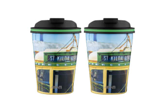 2PK Avanti 280ml Go Cup Stainless Steel Double Wall Insulated Mug St Kilda Tram