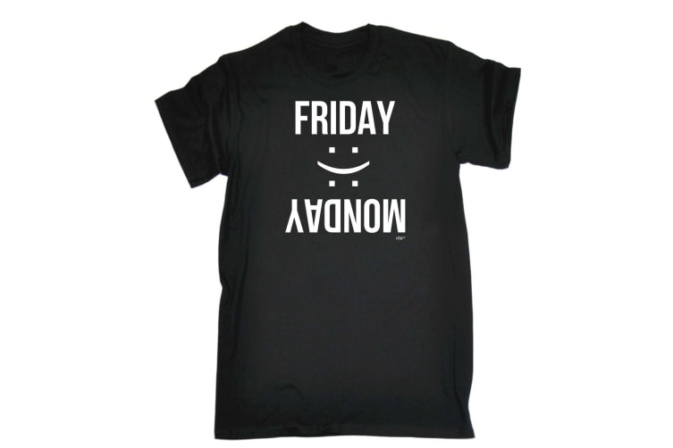 123T Funny Tee - Friday Monday - (Large Black Mens T Shirt)