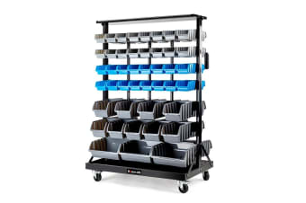 Baumr-AG 88 BIN Storage Shelving Tools Parts Rack Shelf Garage Workshop Wheels 7 Tier