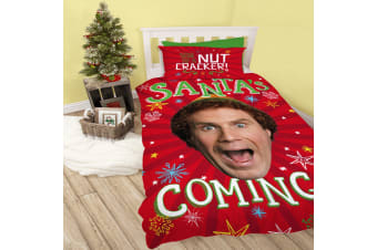 Elf Santas Coming Christmas Reversible Duvet Set (Red/Green) (Single)