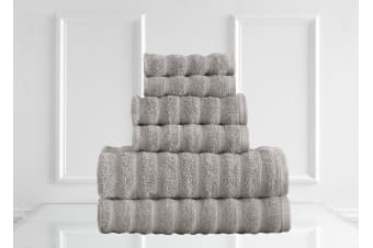 Renee Taylor Maison 600GSM 6 Piece Towel Set 100% Egyptian Cotton Luxury Towels - Dove