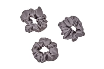 Gioia Casa Luxury Silk Scrunchie 3 Pack (Charcoal)