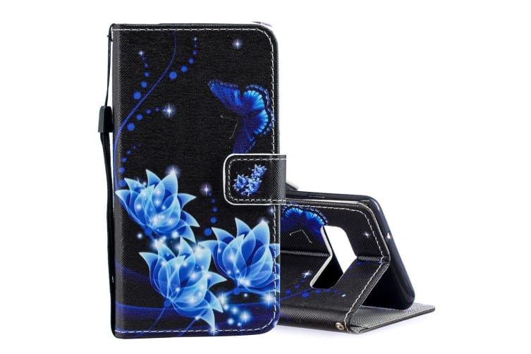 For Samsung Galaxy S10 Case Blue Flower Pattern PU Leather Folio Cover