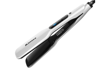 Select Mall Hair Straightener Blue Screen Thermostat Electric Plywood Ceramic Roll Straight Dual-purpose Perm Hairdressing Tools-White