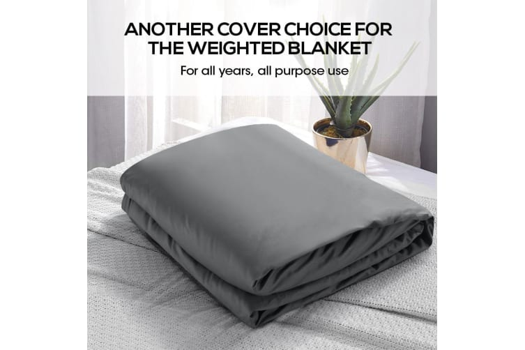 Dreamz Cotton Zipper Cover for Kids Weighted Blanket Washable Protector 121X92CM Grey  -  Grey