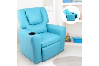Artiss Kids Recliner Sofa Children Lounge Chair Padded PU Leather Armchair Blue