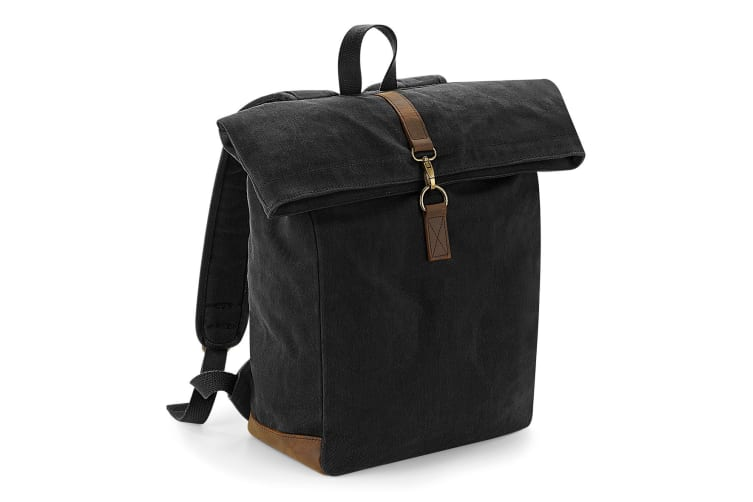 Quadra Heritage Waxed Canvas Leather Accent Backpack (Black) (One Size)
