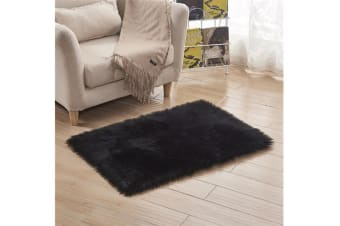 Super Soft Faux Sheepskin Fur Area Rugs Bedroom Floor Carpet Black 90*90
