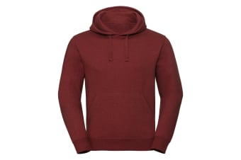 Russell Unisex Authentic Melange Hooded Sweatshirt (Brick Red Melange) (M)